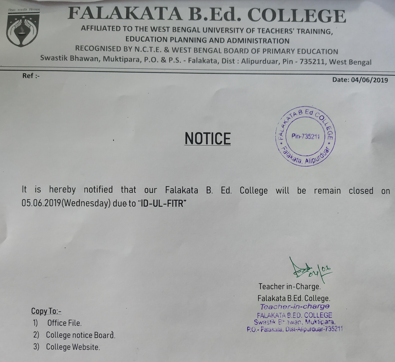 College Notice | Falakata B Ed College